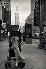 Dreaming of New York (Wessel Donkervoort) Tags: new york manhattan ny nyc america usa us united states daugther little girl sleeping stroller eyes shut dreaming empirestate empire state building city architecture