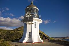 Cape Reinga Lighthouse 10 (C & R Driver-Burgess) Tags: lighthouse ocean sea hills sky tasman pacific newzealand aotearoa sunny white wife brother sister mother family solarpower green hill blue horizon