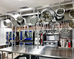 Red, White and Blue  Show & Tell Tour (SteveMather) Tags: middleschool tour show tell stainless steel commercial kitchen procamera vividhdr viewpoint smartphotoeditor cleveland ohio pots pans ladles ceiling mounted rack