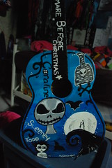 Tim Burton Guitar that I painted. (M.Chmilowsky Photography) Tags: blue cliff moon white canada black paint pretty winnipeg guitar painted bat manitoba handpainted button poison timburton darkblue lightblue edwardscissorhands sweeneytodd coraline thenightmarebeforechristmas jackskeleton mediumblue corspebride paintedguitar 3shadesofblue bymchmilowsky