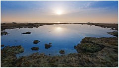 Calm morning (khalid almasoud) Tags: city morning light sun reflection beach ex dc rocks all photographer pentax tide low  sigma calm rights kuwait af khalid reserved f35  icapture     greatphotographers hsm  2013 february9 k01 10mm20mm almasoud  thebestofday gnneniyisi   anajafh