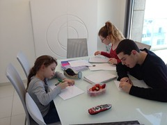 Homework on the dining table - Bat Yam (dlisbona) Tags: sea vacation holiday vacances israel telaviv view apartment flat rental location appartement luxury seaview batyam louer apartement sejour