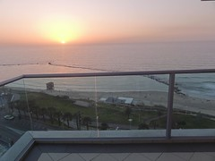 Balcony of Maison Lisbona, Bat Yam (dlisbona) Tags: sunset sea vacation holiday vacances soleil israel telaviv sonnenuntergang view apartment flat rental location appartement luxury seaview  coucherdusoleil batyam louer apartement sejour