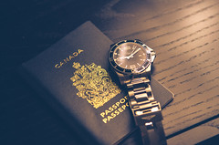 Going Anywhere? (dee_see) Tags: travel canada nikon watch passport longines 1755mm splittoning d7000