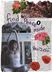 Find Peace (Jeannette Rose) Tags: selfportrait girl collage peace mixedmedia text findpeace orwearingclothes ireallydontlikepants
