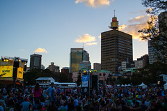 Sunset over Tropfest in the Domain (M.D.Rozen) Tags: sunset tower nikon sydney amp cbd domain centrepoint tropfest d5100