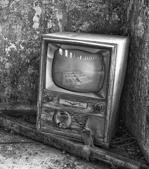 Lonely tv left in a barn. (Forsaken Fotos) Tags: abandoned forgotten blacknwhite