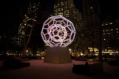 Madison Square Park (messyrican) Tags: sculpture art ball geometry tubes illuminated led mathematics hexagons geodesic spheres bucky 2012 shakeshack buckyball leovillareal pentagons fullerene 2013 madisonsquareart