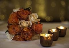 The Bridesmaids Bouquet! (janetmeehan) Tags: flowers wedding roses stilllife color rose diamonds canon glow candle bokeh atmosphere depthoffield softfocus candlelight tabletop stilllifephotography tabletopphotography