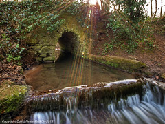 Flare Beams - Sandling Woods (Daveyboy_75) Tags: bridge light waterfall kent moss woodlands rocks stream olympus rapids reflected boulders dslr hdr maidstone shimmer mossyrocks olympusdslr e450 sandlingwoods cuckoowoods olympuse450