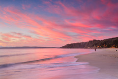 Vincentia (stevoarnold) Tags: blue red sea sun seascape color colour beach water beauty rock clouds sunrise sand cloudy australia nsw jervisbay