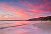Vincentia (stevoarnold) Tags: blue red sea sun seascape color colour beach water beauty rock clouds sunrise sand cloudy australia nsw jervisbay