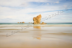 Playa del Aguilar, Asturias (Elenita_) Tags: ocean longexposure sea summer seascape tourism beach nature water rock stone relax landscape daylight spain turquoise tranquility nobody calm atlantic journey coastline idyllic vacations tranquil paradisebeach traveldestinations calmscene
