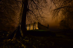 Balvenie Castle (hammoj28) Tags: trees light brick castle work woodland scotland low ghost ruin eerie moat glenfiddich balvenie grampian
