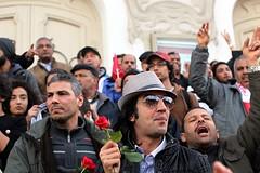 Red Rose for Chokri (Dlirante bestiole [la posie des goupils]) Tags: youth tunisia flag tunis redrose demonstration murder lower manif tunisie assassination politicalleader assassinat chokribelad