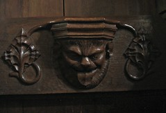 Lion Face Misericord, Walsall (Aidan McRae Thomson) Tags: church woodwork carving medieval staffordshire westmidlands stalls walsall misericord