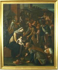 Anónimo, Adoración de los Reyes (siglo XVII), óleo sobre tela, colección Museo de Arte de Salamanca. MECD