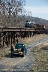 Country Roads (Jason Lowe Photography) Tags: railroad bridge history tourism train truck diesel railway trains tourist wv chevy westvirginia co restored americana bo dirtroad recreation farmer hay railfan haybale romney f7 emd potomaceagle photospecial southbranchvalley frenght