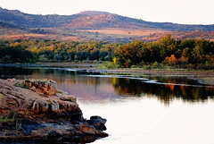 Quanah Parker Lake (1lkygrl1) Tags: sunset lake mountains oklahoma photography wildlife wichita parker refuge quanah