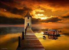 Lighthouse (Jean-Michel Priaux) Tags: light sunset sea sky sun lighthouse art fairytale photoshop landscape see boat fishing dolphin dream fairy reflect fantasy dreamy paysage reflexion dreamland dauphin tolkien conte imaginaire priaux mygearandme photographyforrecreation rememberth