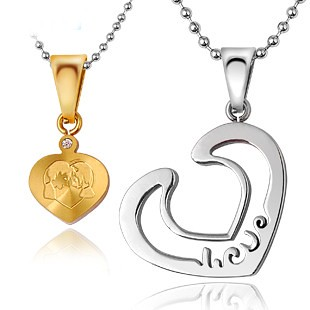 2d2ebffe2d Customized Engravable Inside Heart Matching Birthday Gift Couple Necklace ( gullei) Tags: uk family