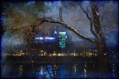 The Eerie Biosphere at Night (jta1950) Tags: travel painterly reflection tree texture water night lights quebec montreal biosphere dome nuit expo67 ilestehelene parcjeandrapeau blie sthelensisland heedingthemuses