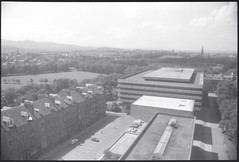 View from David Hume Tower (Area Bridges) Tags: blackandwhite tower film scotland edinburgh university view pentax library 1988 scan negative scanned mesuper universityofedinburgh orwo davidhumetower