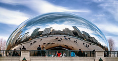 Azure Bean (Sky Noir) Tags: sky sculpture cloud chicago art public illinois gate shaped azure bean il mirrored thebean skynoir