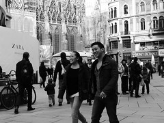 Happy people (petrusko.rm) Tags: vienna wien street people bw white black walking happy lumix photography panasonic persons fz200