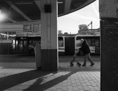 Utrecht, Centraal. (Pim Geerts) Tags: old bw white man black film public station analog train zwartwit kodak transport tram bronica medium format analogue busses centrum busstation oude centraal 125 treinen vervoer rollator px invalide bejaard hoog bussen analoog etrs openbaar middenformaat catharijne