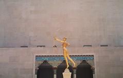 MET (sheshakes) Tags: new york city nyc love film statue wall museum analog 35mm gold golden pentax metropolitain cupid lovely met metropolitan
