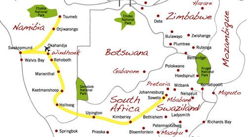 Shongololo Express - map of the Dune Express route