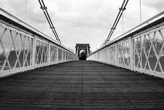 Wilford Bridge (richardmcbrayne) Tags: nottingham bridge monochrome architecture mono view conversion suspension timber steel nottinghamshire rmac wilford rmacphotography