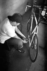 Nabeel's bike. (docpop) Tags: sanfrancisco street blackandwhite bw film analog 35mm lomo lca lomography trix streetphotography premium arista