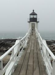 Lighthouse Visitor (Anita363) Tags: marshallpointlighthouse marshallpointlight portclyde maine me lighthouse boardwalk railing vanishingpoint child people fog foggy
