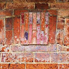 Past colours (PeteZab) Tags: brick colour pattern patchwork texture urban colours faded flaking peterzabulis petezab zabzone square