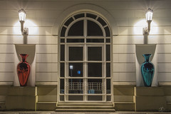 Symmetry 1 (Robin J Smith) Tags: luxembourg red blue vase window arch longexposure lolight lowlight white