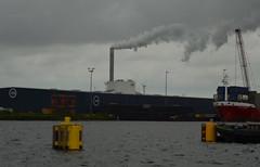 Up in smoke (-Kj.) Tags: westpoort amsterdam harbour port water cloud rain