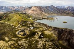 Frostastaavatn (colin grubbs) Tags: iceland mountains volcano lake geothermal rhyolite helicopter europe road cars wilderness caldera lava fjallabak
