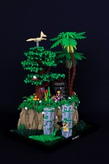 Adventurers Reboot: Jungle (jsnyder002) Tags: lego moc creation adventurers johnny thunder jungle ruins pillar cliff swamp tree palm alligator