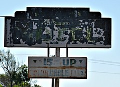 Unreadable (pam's pics-) Tags: midwest us usa america smalltown pamspics pammorris nikond5000 ne nebraska culbertsonnebraska sign motel hotel lodging rusty vintagesign steelsign outofbusiness divemotel abandoned decayed decay