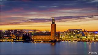 Golden blue hour in Stockholm