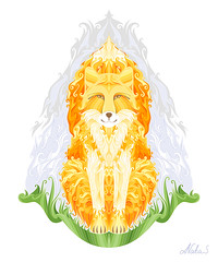 magic fox, spirit of autumn (Natalie Sedyakina (Devi)) Tags: vector illustration fox fire bonfire nature nagual art digital adobe adobeillustrator night autumn sky japanece