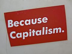 Because Capitalism, New York, NY (Robby Virus) Tags: newyork newyorkcity city manhattan ny nyc bigapple bizer tag throw graffiti wall throwup because capitalism sticker slap