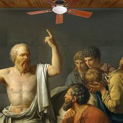 Turn this thing, Plato! (jaci XIII) Tags: pintura scrates filosofia pessoas homem historia anacronismo ventilador socrates philosophy painting people man anachronism fan