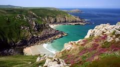 Cornish coastline (OutdoorMonkey) Tags: summer cliff southwest beach water walking coast cornwall heather bluesky coastline viewpoint seashore stives cornish coastpath zennor