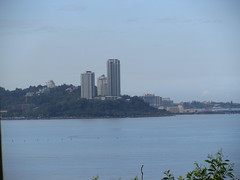 View of Likas Bay, Kota Kinabalu (thienzieyung) Tags: city morning blue houses sea sky terrain water skyline bay coast cool construction scenery waves apartments centre north places calm hills cranes malaysia tropical kotakinabalu tall geography thepeak awana bayu sabah condominium ridges likasbay tanjunglipat suriasabah thienzieyung thepeakvista deluxetower premiumtower