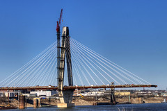 New Missippi River Bridge (illusionsofgrandeur) Tags: road county new bridge winter sky usa water st architecture work project river mississippi cord illinois construction midwest suspension steel stlouis engineering cable structure il mo american missouri end clair musial cablestayed