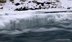 Icicles and rushing river (Aswin Anand) Tags: winter india ice canon river flow icicle zanskar 1855mm kashmir leh ladakh chadar