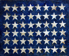 Jasper Johns, Flag, detail with field of stars